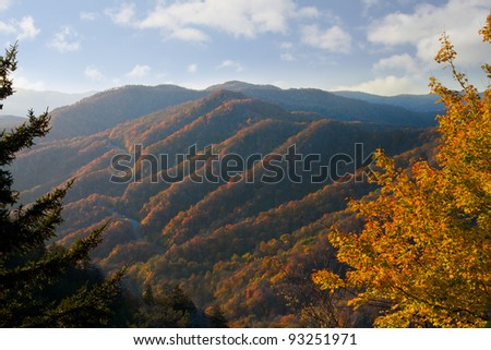 Newfound Gap, Great Smoky Mountains National Park - stock photo