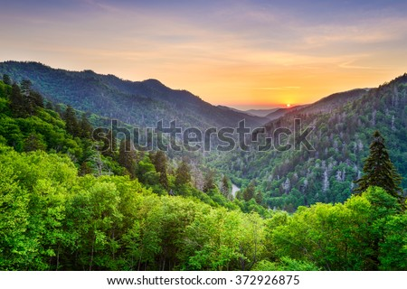 Newfound Gap in the Smoky Mountains, Tennessee, USA. - stock photo