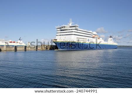 NEWFOUNDLAND, CANADA - August 24: Ferry boat servicing Newfoundland from North Sydney, Canada on August 24, 2014. - stock photo