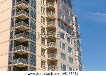 Newly build contemporary condominiums in downtown Denver. - stock photo