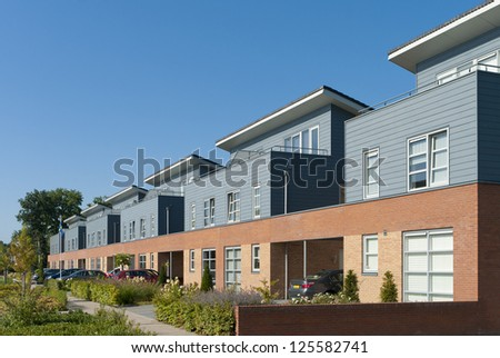 newly build modern detached houses in Oldenzaal, Netherlands - stock photo