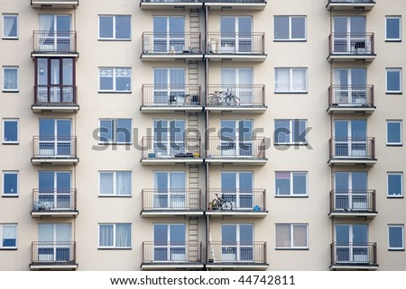 Newly built block of flats - stock photo