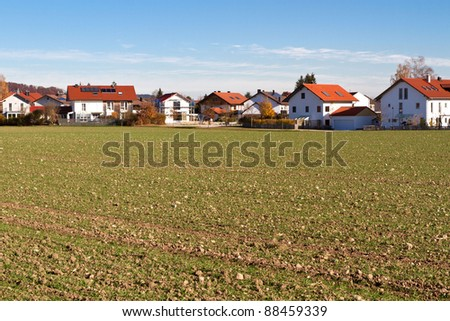Newly built housing area in rural Bavaria, Germany - stock photo
