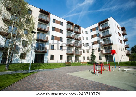 Newly built housing development with place for children - stock photo
