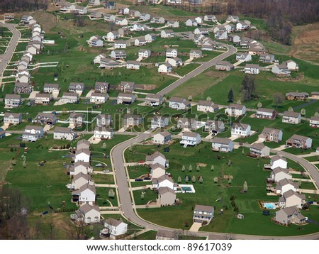Newly built middle class suburban housing in the Eastern United States