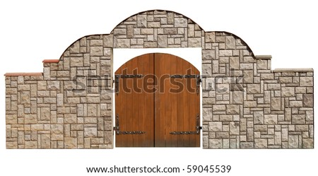 newly-built stone and wooden gate isolated on white background - stock photo