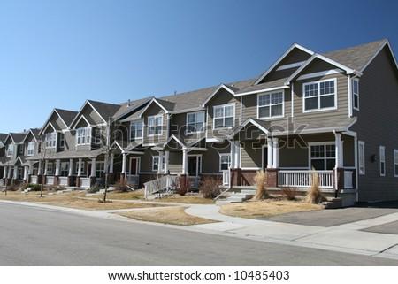 Newly Built Suburban Row Houses - stock photo