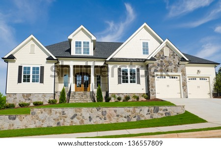 Newly completed large suburban house - stock photo