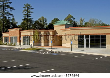 Newly constructed commercial building available for  lease - stock photo