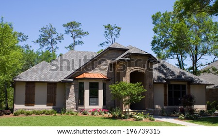 Newly constructed modern model luxury home in Florida, USA. - stock photo