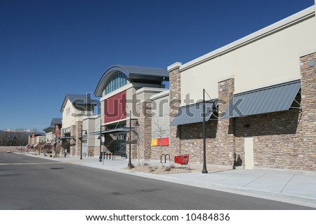 Newly Constructed Retail Strip Center - stock photo