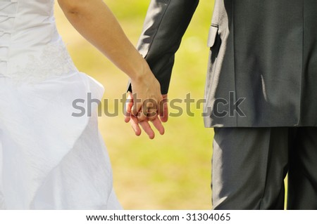 Newly married go hand in hand