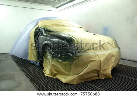 Newly painted car - stock photo