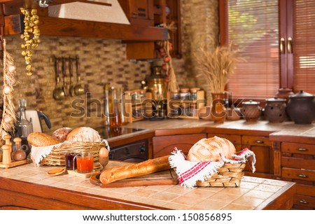 Newly renovated kitchen with a french farmhouse theme. - stock photo