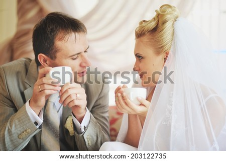 Newlywed caucasian couple together. Wedding day.