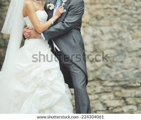 Newlywed couple bonding.  - stock photo
