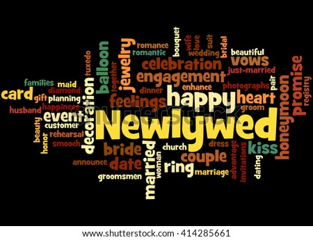 Newlywed, word cloud concept on black background.