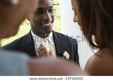 Newlyweds at Reception - stock photo