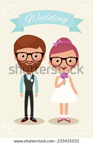 Newlyweds bride and groom in wedding dress hipsters/Bride and groom hipsters/Illustration of bride and groom hipsters in full length - stock photo