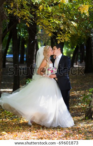 Newlyweds in autumn park, the groom kisses his bride. - stock photo