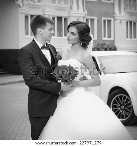 Newlyweds near the old house (monochrome) - stock photo