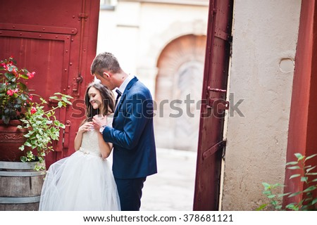 Newlyweds stay and kissing near steel gates