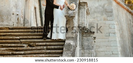 Newlyweds together on wedding day.  - stock photo