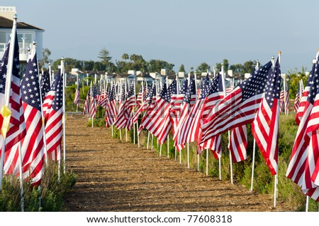 NEWPORT BEACH, CA - MAY 19: The Exchange Club of Newport Harbor sponsored the 2nd Annual Field of Honor event at Castaways Park on May 19, 2011 in Newport Beach, California. - stock photo
