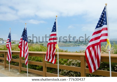 NEWPORT BEACH, CA - MAY 19: The Exchange Club of Newport Harbor sponsored the 2nd Annual Field of Honor event at Castaways Park on May 20-23, 2011 in Newport Beach, California. - stock photo