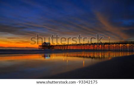 Newport Beach Pier at Sunset, Newport Beach, California, USA - stock photo