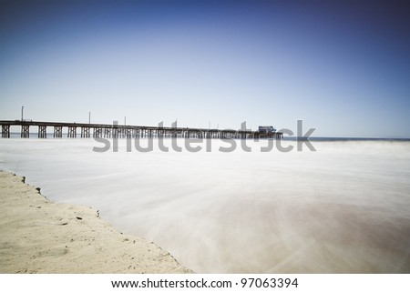 Newport Beach Pier Long Exposure - stock photo
