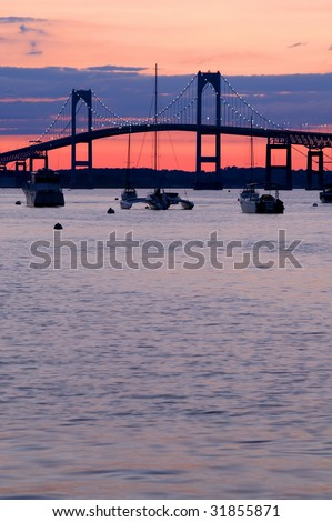 Newport Claiborn Pell Bridge at Sunset Vertical With Copy Space - stock photo