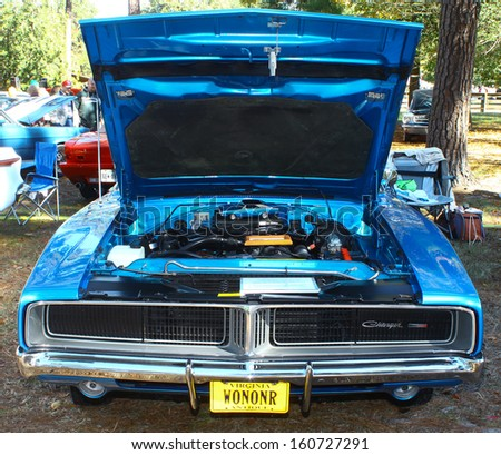NEWPORT NEWS, VA- OCTOBER 25: A 1969 Charger R/T in the 11th Annual Virginia Fall Classic in Newport News Park in Newport News, Virginia on October 25, 2013