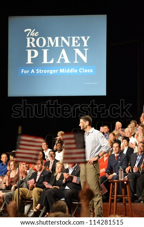 NEWPORT NEWS, VIRGINIA-SEPTEMBER 18: Congressman Paul Ryan, Republican Vice Presidential candidate at a rally held at Christopher Newport University in Newport News, Va. September 18, 2012