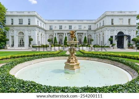 NEWPORT, RHODE ISLAND - AUGUST 1, 2013: Rosecliff. built 1898-1902, is one of the Gilded Age mansions, in Newport, as seen on July 19, 2013. It was modeled after the Grand Trianon of Versailles. - stock photo