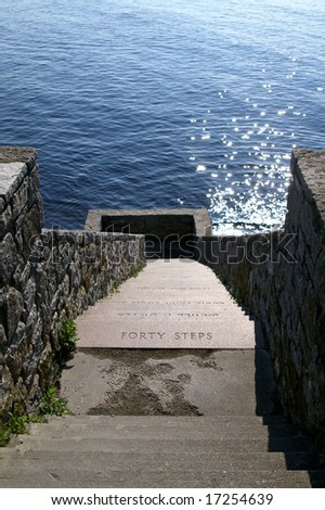 Newport Rhode Island Forty Steps Along Famous Cliff Walk Vertical With Copy Space - stock photo
