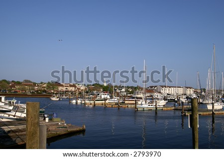 Newport Rhode Island Harbor With Copy Space - stock photo