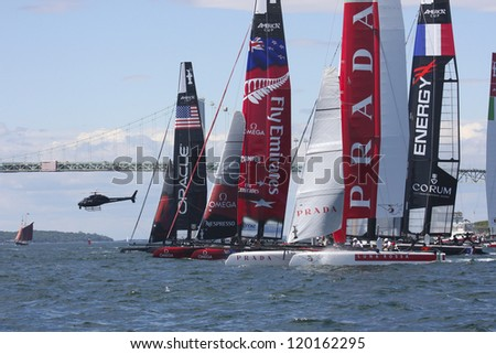 NEWPORT, RI - JULY 28:  Start of 2012 America's Cup World Series in Newport, RI on June 28, 2012. - stock photo