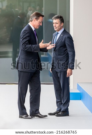 NEWPORT, WALES, UK - Sep 4, 2014: NATO summit. British Prime Minister David Cameron and NATO Secretary General Anders Fogh Rasmussen at the NATO summit in Newport (Wales, UK) - stock photo