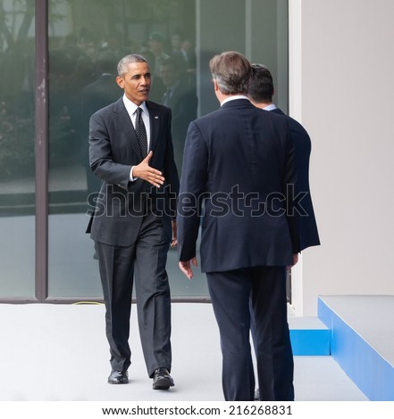 NEWPORT, WALES, UK - Sep 4, 2014: NATO summit. US President Barack Obama, British Prime Minister David Cameron and NATO Secretary General Anders Fogh Rasmussen at the NATO summit in Newport  - stock photo