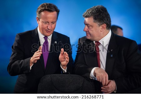 NEWPORT, WALES, UK - Sep 4, 2014: President of Ukraine Petro Poroshenko and British Prime Minister David Cameron during a meeting at the NATO summit in Newport (Wales, UK) - stock photo