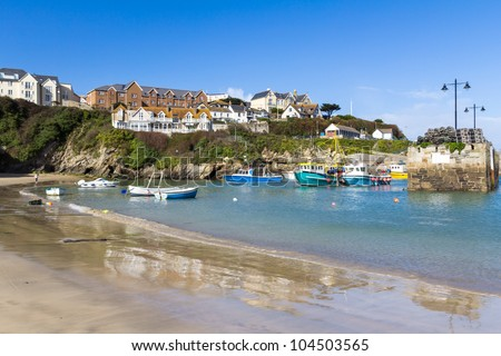 Newquay fishing harbour Cornwall England UK - stock photo