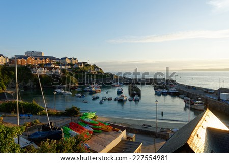 Newquay, UK : Newquay harbor to this day is an important fishing port in Cornwall, August 1, 2014. - stock photo