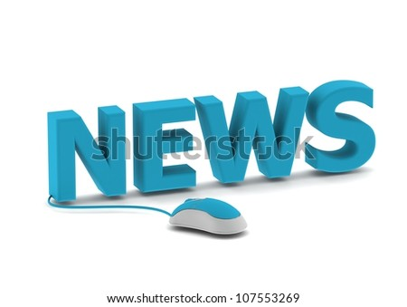 News and computer mouse - stock photo
