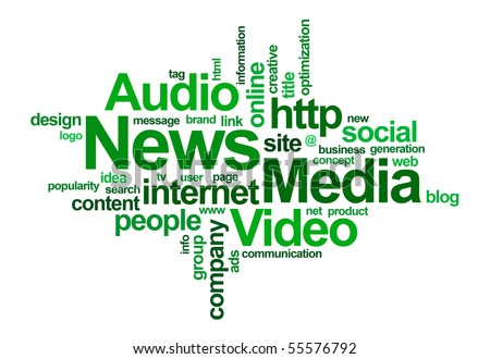 News and media â?? word cloud - stock photo