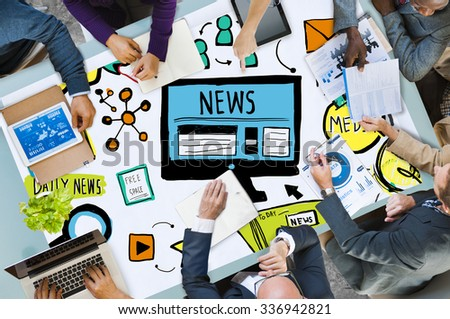 News Article Advertisement Publication Media Journalism Concept - stock photo
