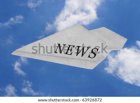 News background - Newspaper plane flying  on blue sky. - stock photo