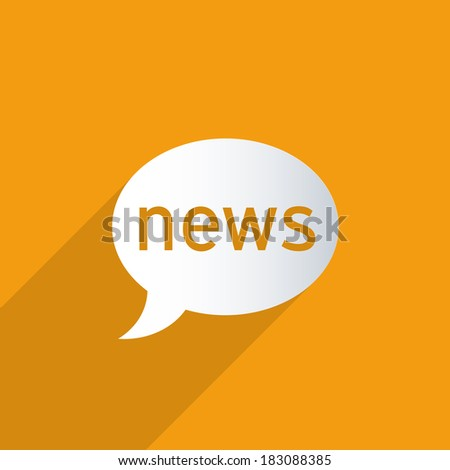 News balloon on a orange background. Abstract 3d paper graphics. - stock photo