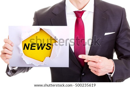 NEWS - Businessman Holding paper with the word news