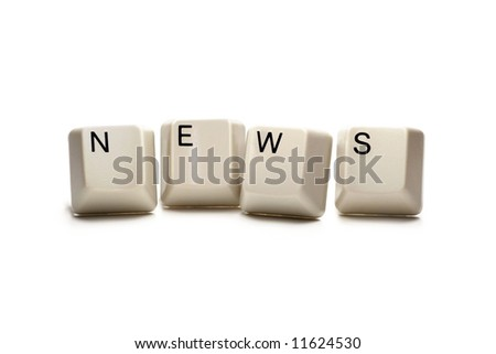News - computer keys, isolated on white
